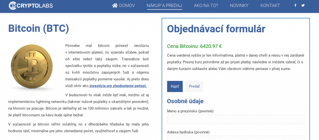 kúpiť bitcoin cez zmenáreň Cryptolabs